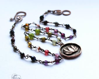 Ombre Lotus Rosary Chain Necklace. The Nymphaea.
