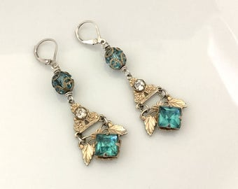 Repurposed Rhinestone Earrings - Blue Rhinestone Dangle Earrings - Dangle Drop Earrings - Downton Abbey Earrings - Unique Gift Wife Earrings