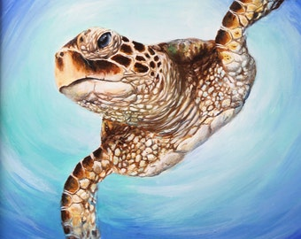 "Original Sea Turtle Painting  ""cruisin' along"" Framed"