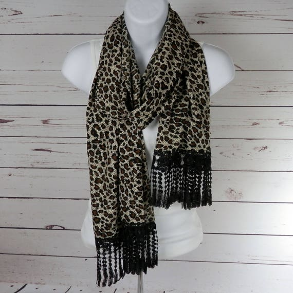 Animal Print Lace Fringe Straight Scarf Shawl Brown Black Ivory Leopard with Black Venice Fring Lace Handmade Fashion by THimbledoodle