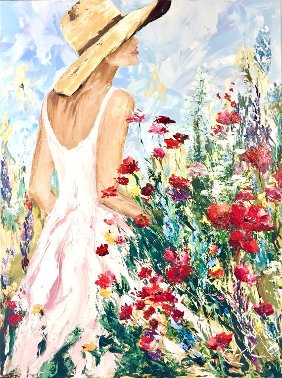 """DREAMY - Original palette knife acrylic painting 36""""x48"""" woman in flowers"""