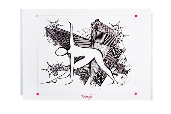YOGA Card TRIANGLE  Pose - 5x7 from Original Ink Drawing, Home Decor, Yoga Studio Decor