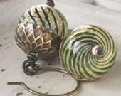 Acorn Earrings - Blown Glass Bead Earrings - Antiqued Brass Earrings, woodland earrings, acorn jewelry, fall earrings