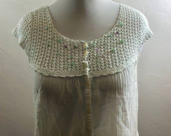 Vintage Hippie Blouse, Crocheted Blouse, Gauze Vintage Blouse, Semi Precious Stones, Festival Blouse, Boho Clothing, Vintage Festival, Boho