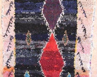 "190X140 CM (6' 2"" X 4' 7"" )  T30143 boucherouite , boucharouette,  moroccan rugs , berber rugs, morocco carpets"