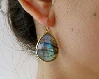 Labradorite Gold Earrings - Gemstone Earrings - Drop Earrings - Gold Earrings - Labradorite Jewelry