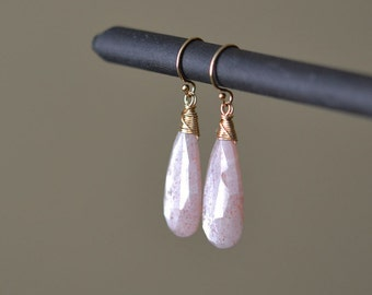Pink Moonstone Earrings, Dangle Earrings, Long Earrings, Gold Moonstone Earrings, Drop Earrings, Pink gold Earring