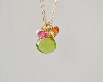 Peridot Necklace, August Birthstone, Gold Multistone Necklace, Citrine, Carnelian, Pink tourmaline, Pearl with Peridot Nekclace