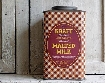 Vintage Kraft Chocolate Malted Milk Tin Can