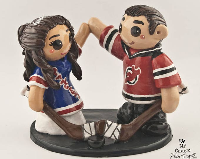 Hockey Wedding Cake Topper Bride and Groom