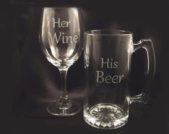 Custom Etched Beer Mug and Large Wine Set - Personalized Glassware