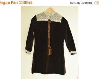 SALE Brown Velvet  Girls Dress Size 140 VTG 50's