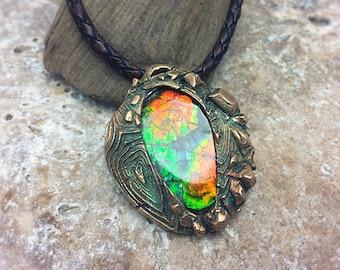 Radiant Ammolite Bronze PMC  Necklace.