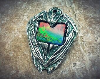 Silver PMC and Vivid Ammolite Quartz Capped Triplet pendant