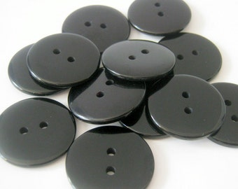20 Plastic Black Buttons 23mm