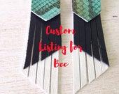 CUSTOM Listing for Bec. Monty the Python Leather Earwings, tassel earrings, tri colour, snakeskin leather, white leather, black leather