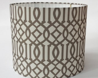 "Drum Lampshade in Imperial Trellis fabric in Taupe - 12"" Diameter X 10"" Tall - Ready to Ship"