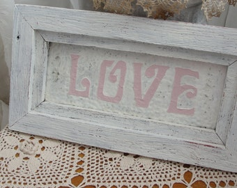 Shabby pink wood sign, Love, shabby cottage chic