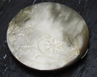 Vintage Gold Colored Metal Compact with Flower Engraving