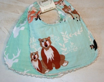 Baby Bibs Set of 2 Cotton Chenille Bibs Baby Shower Gift Mint Woodland Animals Deer Stag