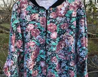 Ladies Retro 90s Oversized Unlined Floral Bomber Jacket