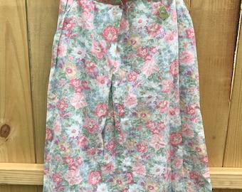 Vintage 70s Pastel Floral Midi Skirt / XS Floral Midi Skirt