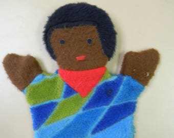 Black Americana: vintage puppet African-American boy with Afro hair wears a dashiki and neckerchief  Sheram Industries 1970 great condition