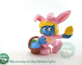 1980s Easter Toy Smurf PVC Figure: Smurfette as Pink Easter Bunny with Basket of Eggs