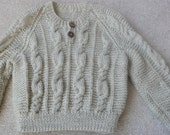 Beige silk wool mix baby sweater beige 9 months to 18 months new handmade