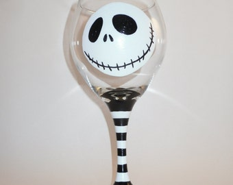 Jack Skellington Wine Glass Hand Painted Large Wine Glass Nightmare Before Christmas Tim Burton Jack and Sally