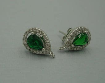 2pcs-Teardrop Emerald Cubic Zirconia CZ Rhodium Plated Earstud Earrings Post Findings Wedding Earrings.