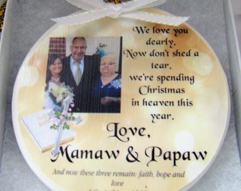 Christmas in Heaven ornament- Heaven ornament - Christmas ornament - In Memory of - Memorial Ornament - Memorial Gift- Sympathy Gift