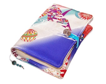 Handmade Book Cover in Kimono Silk, Origami Crane Birds, for Small to Medium Size Hardback Books or Softback Books, UK Seller