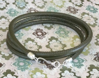 Nappa Leather Wrap Bracelet Olive Green Sterling Silver Free Shipping Casual Everyday