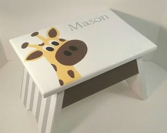 Toddler Step Stool - Giraffe Step Stool - Personalized Step Stool - Nursery Footstool - Yellow and Brown  - DREAMATHEME - Giraffe Footstool