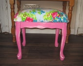 Shabby Chic Vanity Bench - Pretty Distressed Hot Pink -  Cottage Floral Print Padded Bench   - Piano Seat