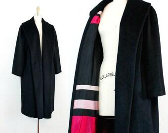 Vintage 1950s Lilli Ann coat . Secrets to Keep . black wool wrap coat . 1950s black Lilli Ann coat