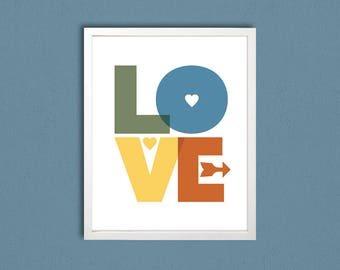 LOVE print, Love Art, printable wall art, modern room art, decorative art, LOVE clip art, green blue yellow brown, digital letter art, print