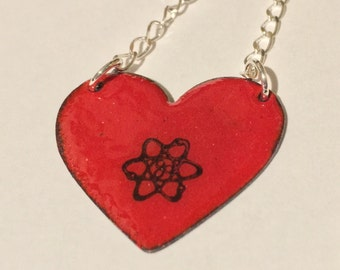 Ready to Ship - Science Is My One True Love in Red - Gorgeous Geekery Atom Heart Necklace - Chemistry, Physics - Great Gift!