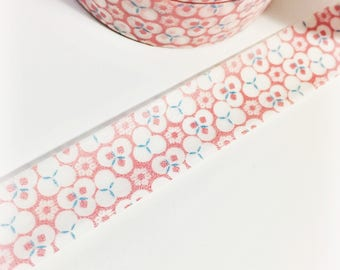 SALE Bright Pink and Aqua Blue Floral Design Circle Design Abstract Washi Tape 11 yards 10 meters 15mm width