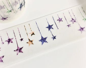 Gorgeous Colorful Star Bunting Hanging Stars Shooting Stars Glitter Star Washi Tape 11 yards 10 meters 30mm
