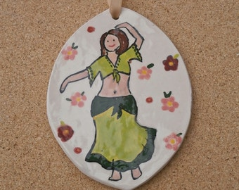 Ceramic belly dancer plaque, Wall art with tribal dancer, Curvaceous Dancer, Free Spirit Dancer, Gal Pal Gift,  BFF Gift, Wild woman