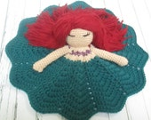 Crochet Princess Doll- Mermaid Lovey Doll DouDou Toy Blanket RTS