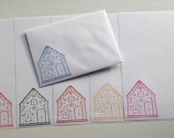 Gingerbread House handmade letter writing set
