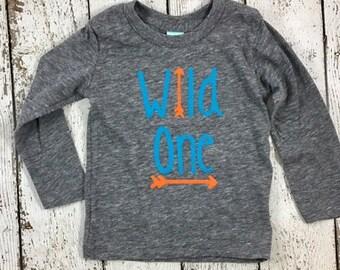 wild one, Children's birthday shirt, one shirt, 1st birthday, tribal party, woodland, organic kid's tee,  kid's tshirt,  wild and free