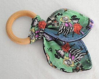 Beetle Juice Infant Wooden Teething Ring Fabric Toy