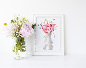 Peony Jug Art Print, art print, pink peony, ideal gift for flower lovers