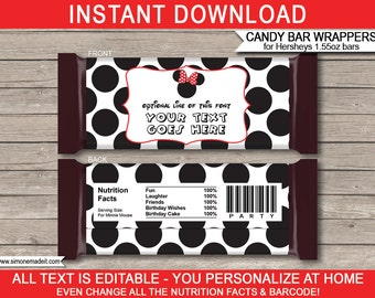 Red Minnie Mouse Party Candy Bar Wrappers - Minnie Mouse Favors - Chocolate Labels - INSTANT DOWNLOAD with EDITABLE text - you personalize