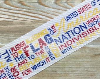 "1.5"", Patriotic Ribbon, Glitter Ribbon, US Designer Ribbon, Pledge Allegiance, July 4th Ribbon, 4th of July Ribbon, July 4th Hair Bow"