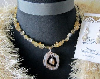 Geode Slice with Citrine Necklace and Earring Set Natural Yellow Stone Jewelry Citrine Chips and Pebbles